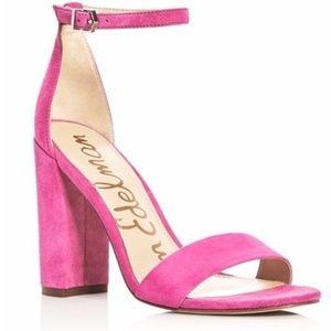 Sam Edelman 'Susie' Pink Suede Chunk Heel Sandals
